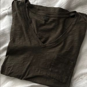 NWOT Madewell Army Green Pocket V-neck Tee